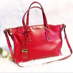 Lauren Ralph Lauren Red Leather Handbag Tote
